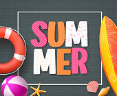 Summer banner design template with 3D colorful summer text and beach elements
