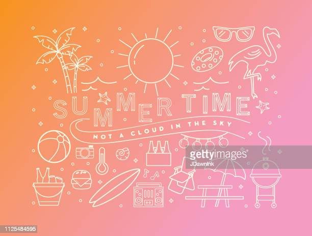 illustrazioni stock, clip art, cartoni animati e icone di tendenza di summer banner design with text and summer line art icons - summer