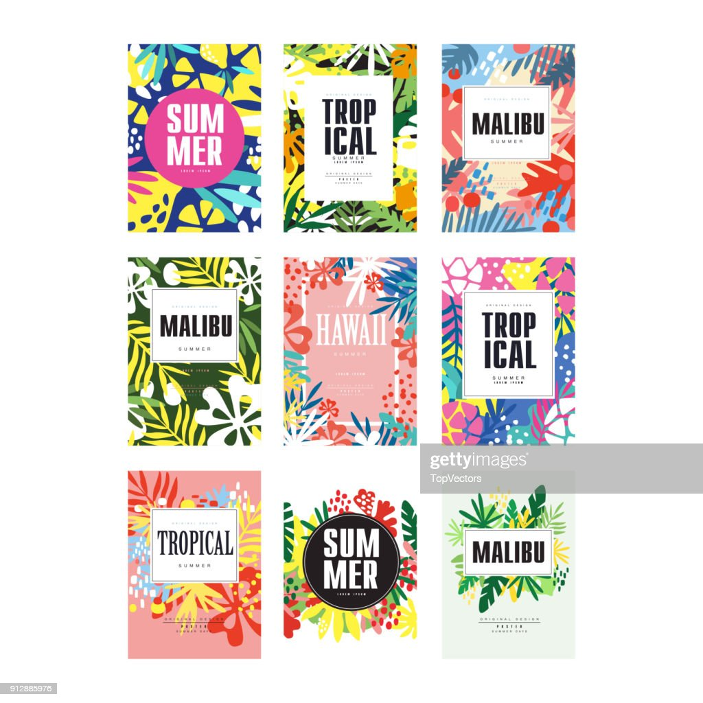 Summer banners set, Malibu, Hawaii tropical vacation and holidays poster vector Illustrations