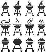 Summer Barbecue black and white royalty free vector icon set
