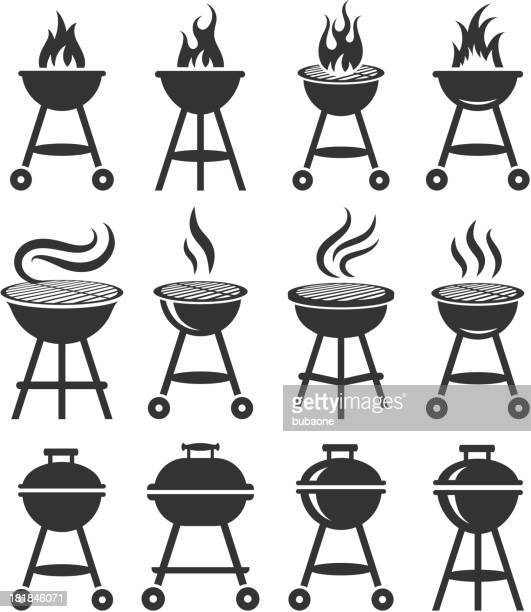 summer barbecue black and white royalty free vector icon set - smoke physical structure stock illustrations, clip art, cartoons, & icons