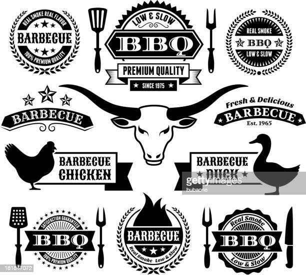 summer barbecue black and white royalty free vector icon set - texas longhorns stock illustrations
