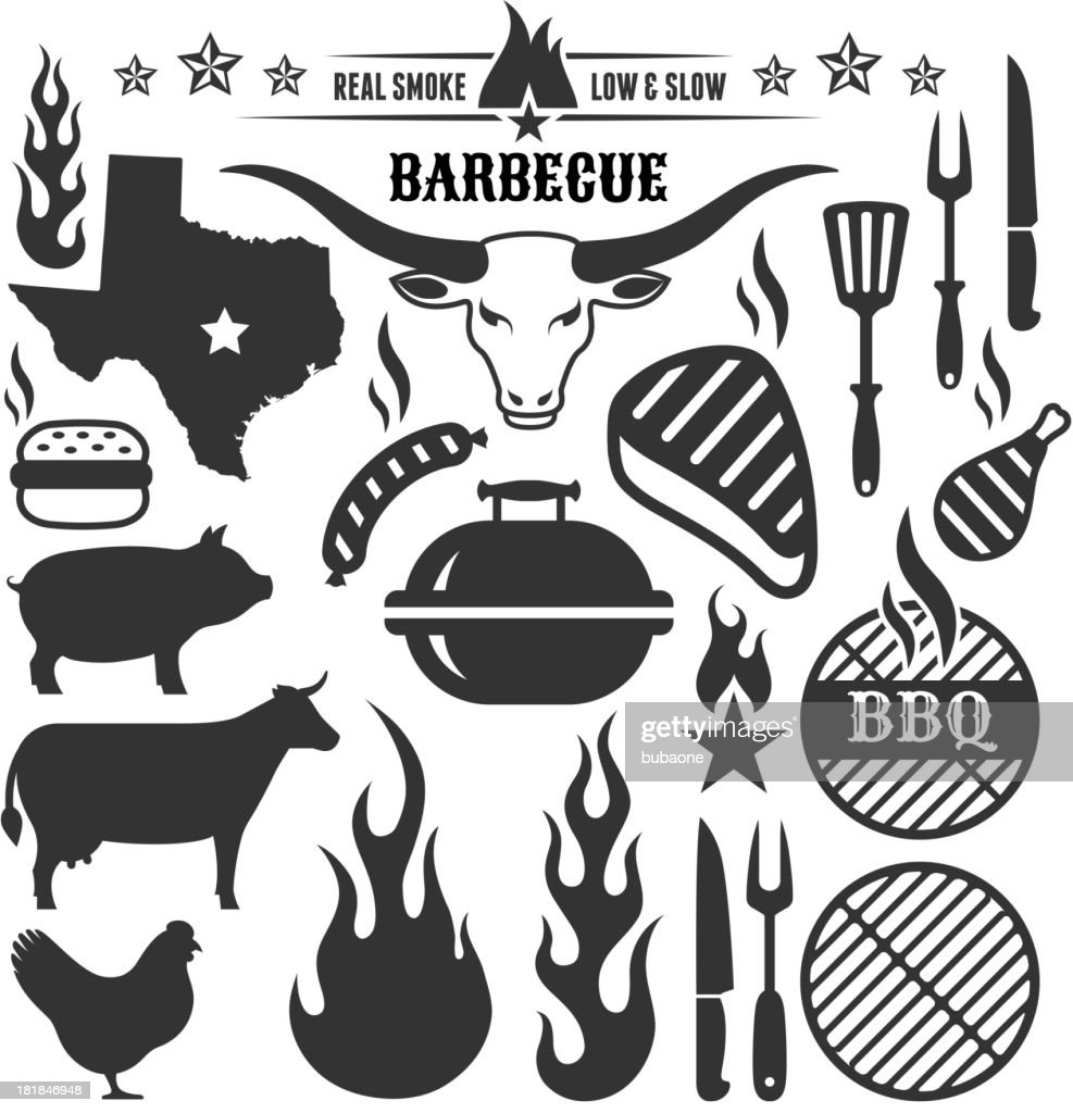 Summer Barbecue grill beef pork and chicken vector icon set : stock illustration