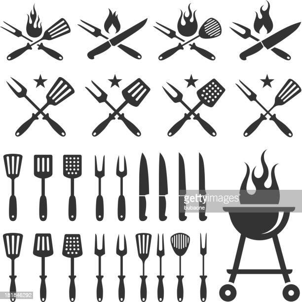 Summer Barbecue grill knife and spatula vector icon set