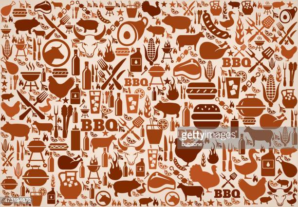 summer barbecue invitation vector background pattern - t bone steak stock illustrations, clip art, cartoons, & icons