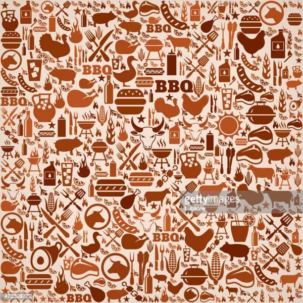 ilustraciones, imágenes clip art, dibujos animados e iconos de stock de el verano vector patrón de fondo de invitación de barbacoa - chuletón