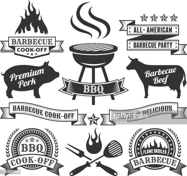 ilustraciones, imágenes clip art, dibujos animados e iconos de stock de verano, barbecue gráficos vectoriales sin royalties - carne de vaca
