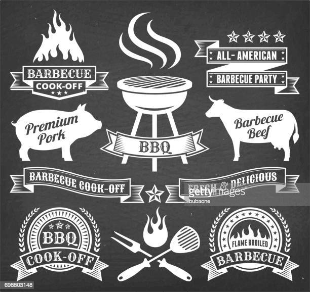 summer barbecue royalty free vector icon set on chalk board - meat stock illustrations