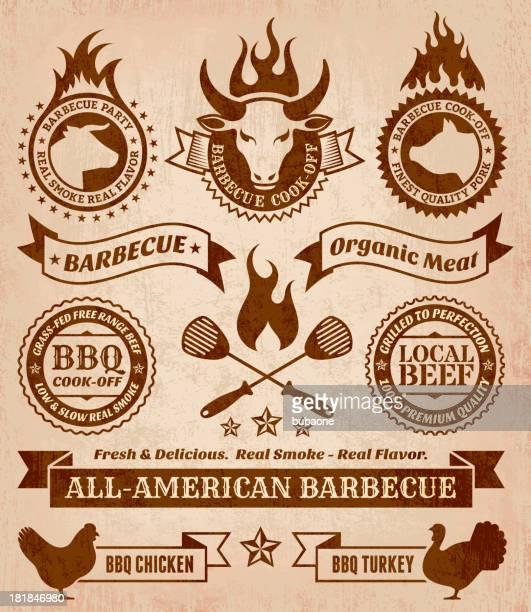 ilustraciones, imágenes clip art, dibujos animados e iconos de stock de verano de barbacoa conjunto de iconos vectoriales sin royalties - carne de vaca