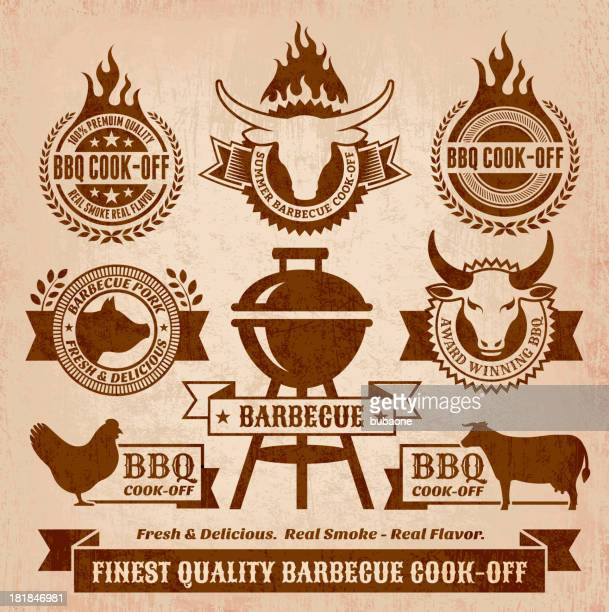 summer barbecue royalty free vector icon set - food state stock illustrations, clip art, cartoons, & icons