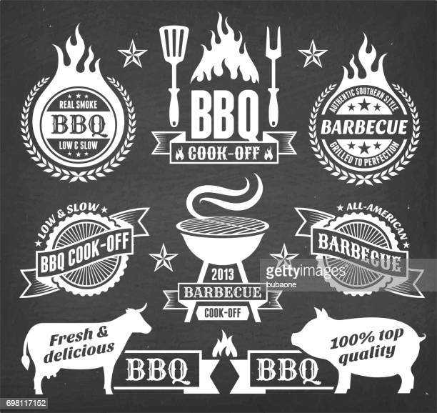 summer barbecue vector icon set collection - food state stock illustrations, clip art, cartoons, & icons