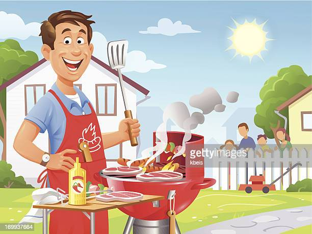 summer barbecue - funny bbq stock illustrations