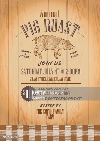 Summer Bbq Country Pig Roast Invitation Design Template Vector Art