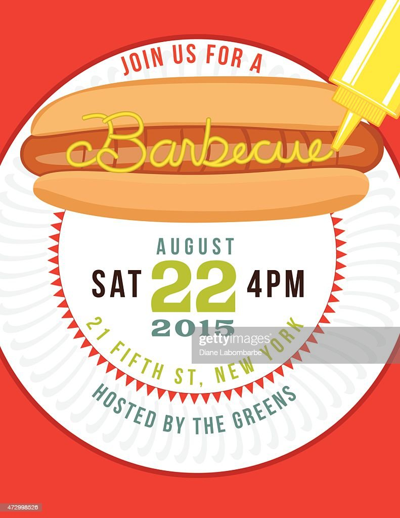 summer bbq invite template with hotdog and paper plate vector art
