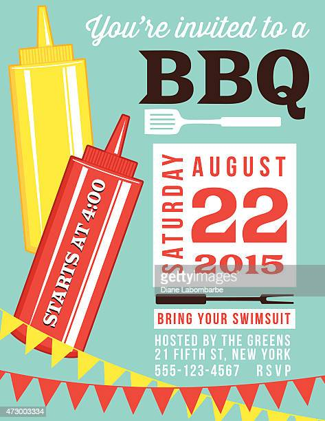 summer bbq invite template with ketchup and mustard - ketchup stock illustrations, clip art, cartoons, & icons