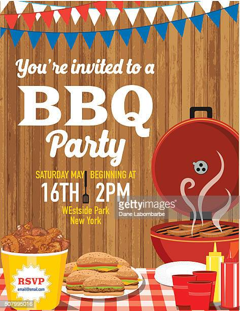 summer bbq party invitation template - picnic stock illustrations