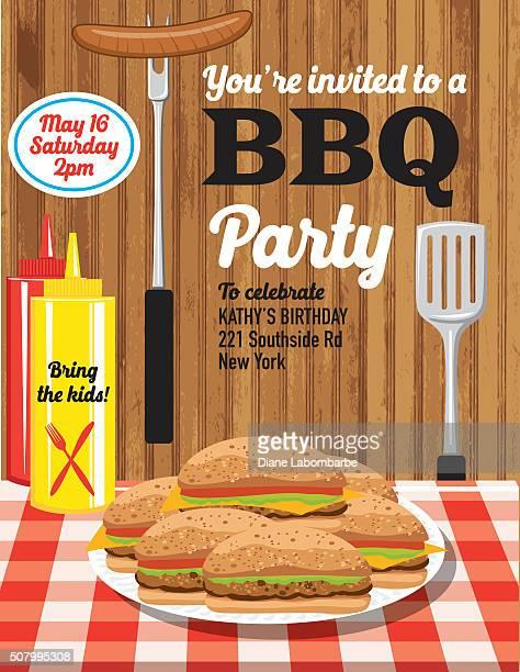 summer bbq party invitation template - hamburger stock illustrations, clip art, cartoons, & icons