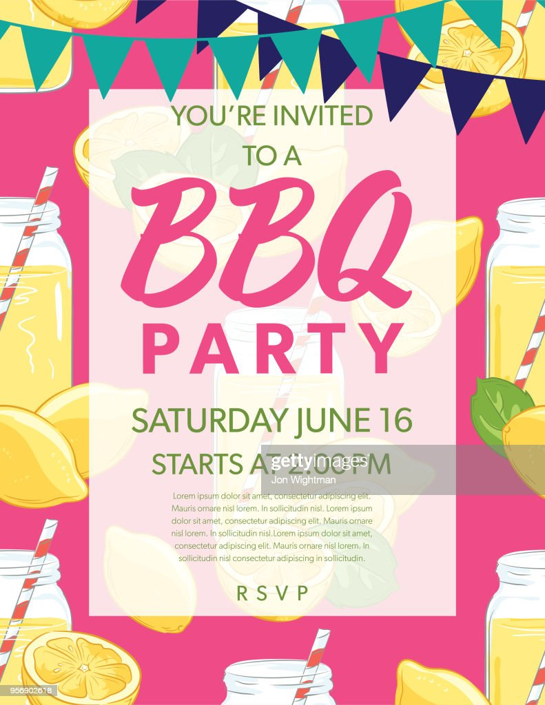 Summer Bbq Party Invitation Template With Lemons And Oranges Vector