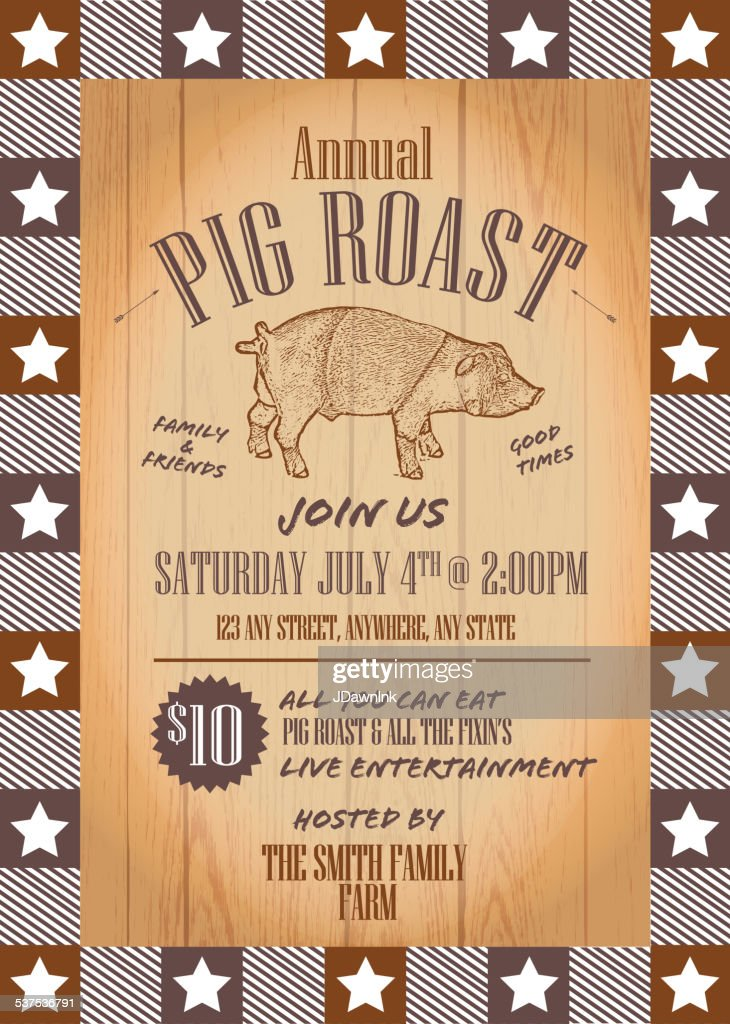 Summer Bbq Pig Roast Invitation Design Template Vector Art Getty
