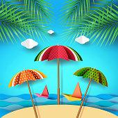 Summer beach and colorful umbrella fruits