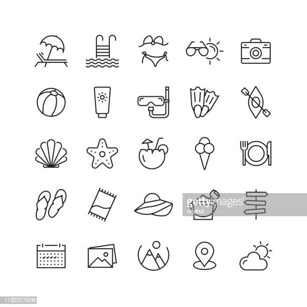 summer, beach and holiday related vector line icons - vacations stock illustrations
