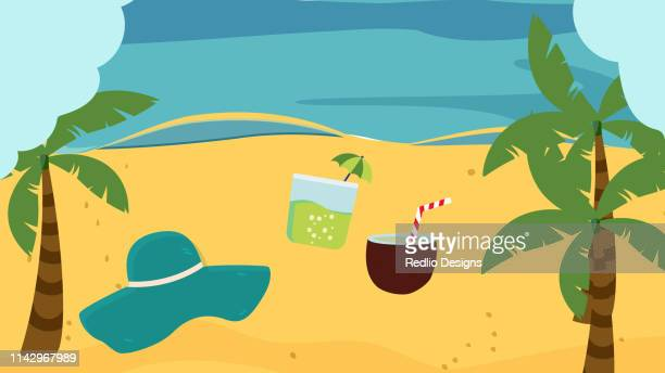summer beach background - beach holiday stock illustrations, clip art, cartoons, & icons