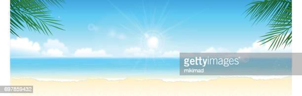 ilustrações, clipart, desenhos animados e ícones de fundo de verão na praia - panorâmica