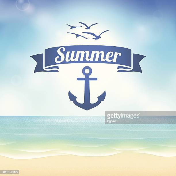 Summer beach Background with label