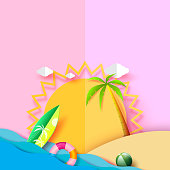 Summer beach banner background concept design with sun and elements.