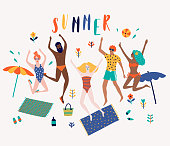 Summer beach cartoon vector illustration with jumping happy young people