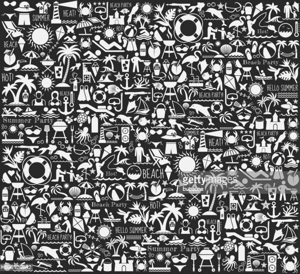 illustrazioni stock, clip art, cartoni animati e icone di tendenza di summer beach day vector pattern on black chalkboard - tempo turno sportivo