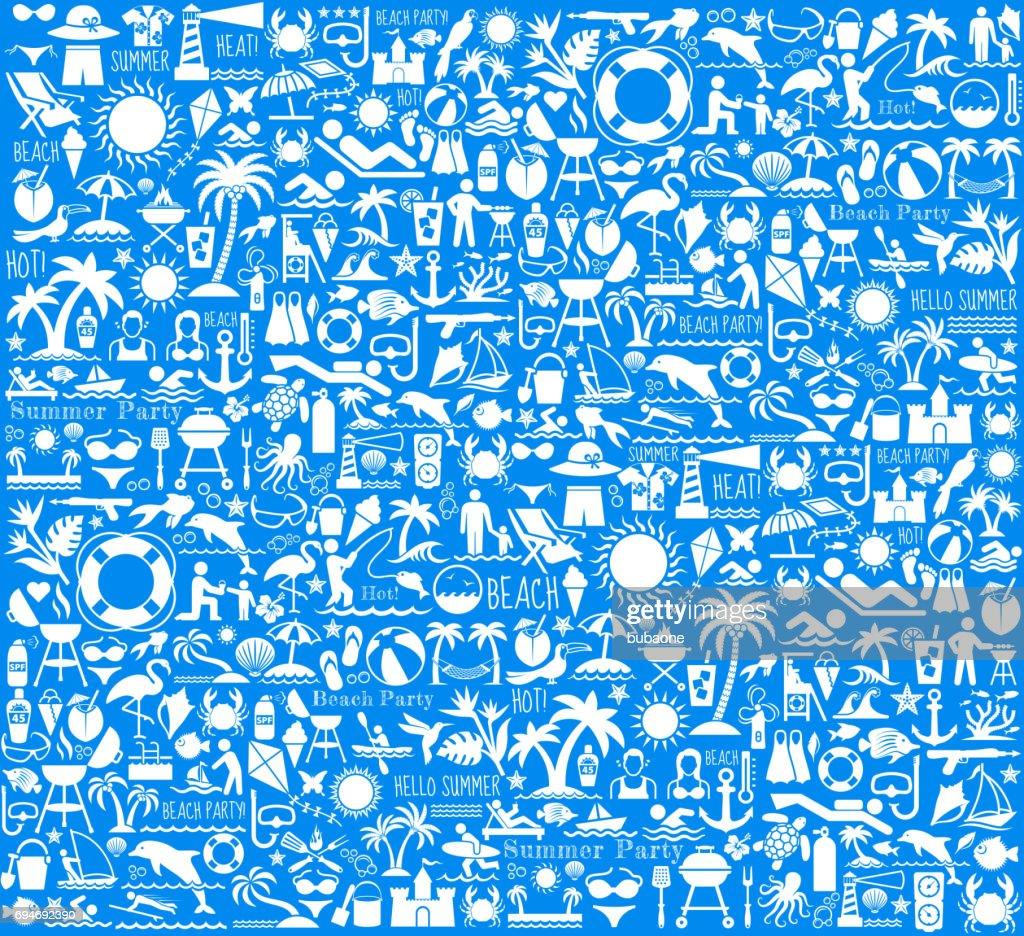 Summer Beach Day Vector Pattern on Blue Background : stock illustration