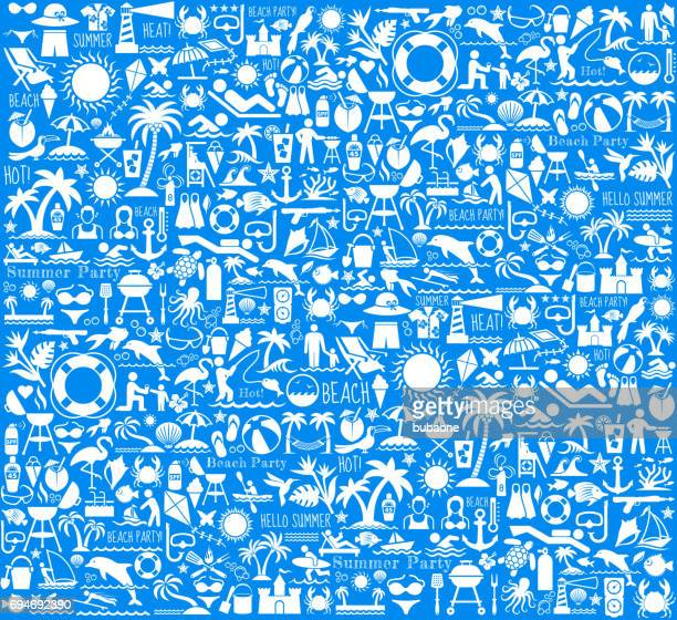 summer beach day vector pattern on blue background - icon collage stock illustrations