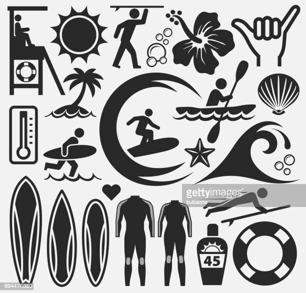 illustrazioni stock, clip art, cartoni animati e icone di tendenza di summer beach day vector pattern on white background - tempo turno sportivo