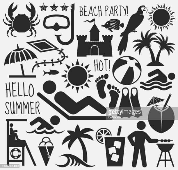 白い背景の上の夏のビーチ日ベクター パターン - 試合 セット点のイラスト素材/クリップアート素材/マンガ素材/アイコン素材