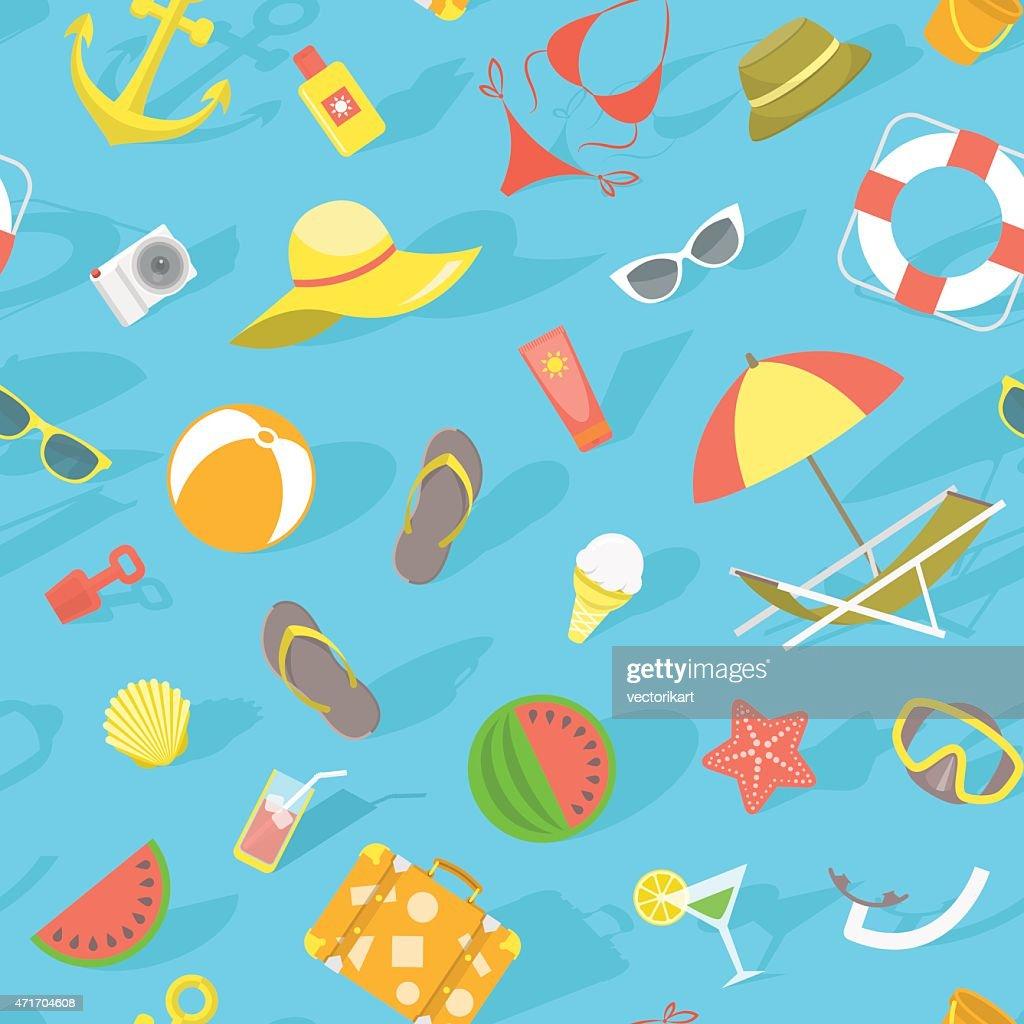 Summer beach essentials seamless pattern