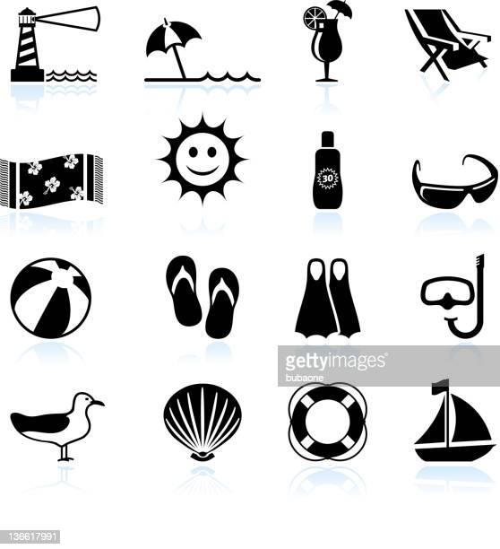 Summer beach fun black and white vector icon set
