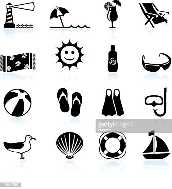 ilustraciones, imágenes clip art, dibujos animados e iconos de stock de summer beach fun blanco y negro vector icono conjunto - pelota de playa
