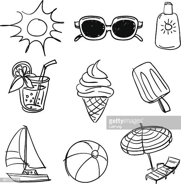 summer beach fun collection - sunglasses stock illustrations, clip art, cartoons, & icons