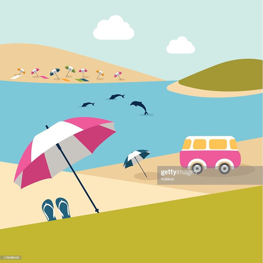 Summer beach island with dolphins, van, umbrella and color pinwheels.