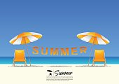 Summer beach landscape with orange beach chair, orange beach umbrella and summer typography hanging on a clothesline on blue gradient sky background  with copy space for your text.