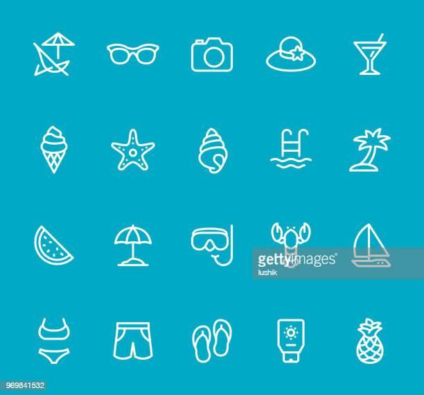 illustrations, cliparts, dessins animés et icônes de summer beach - jeu d'icônes de ligne - coquillage