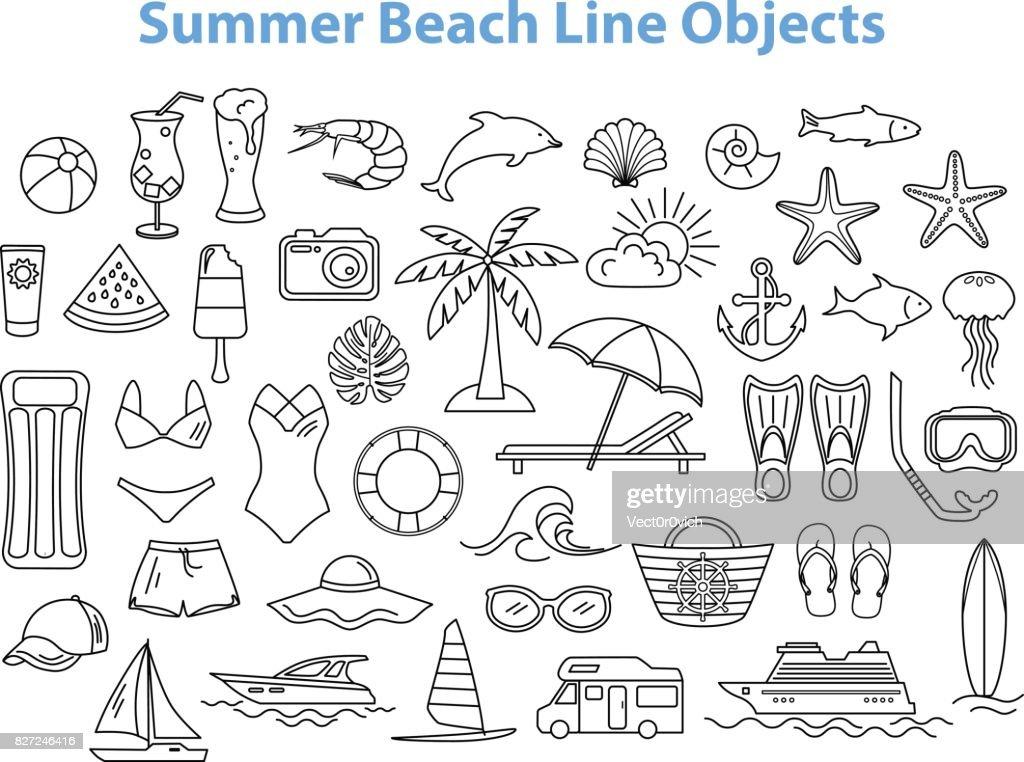 Summer Beach Line Objects Set.