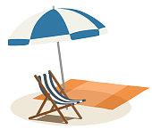 Summer Beach parasol and beach chair