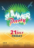 Summer beach party event poster and flyer template design