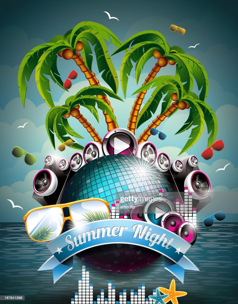Summer Beach Party Flyer Design with disco ball and speakers