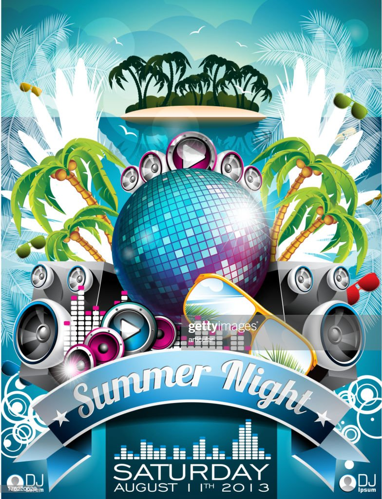 Summer Beach Party Flyer Design with disco ball.