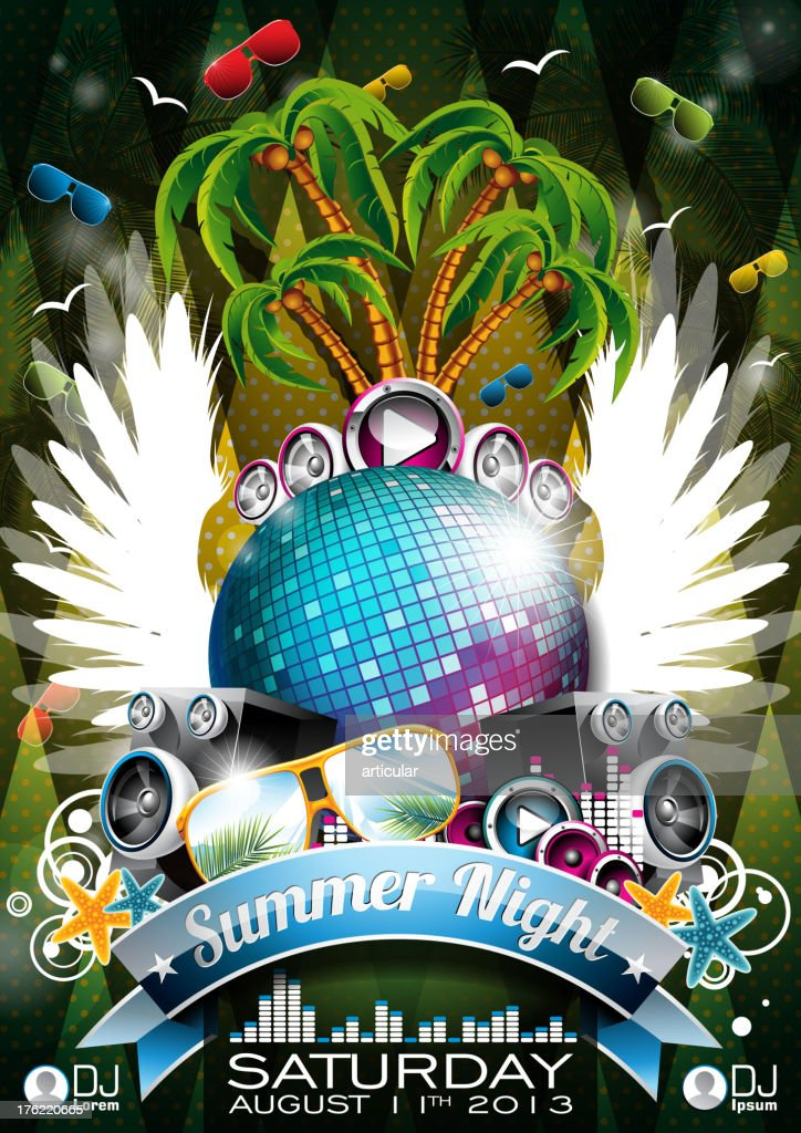Summer Beach Party Flyer Design with disco ball.