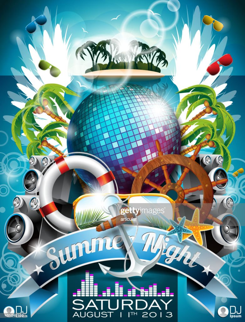 Summer Beach Party Flyer Design with disco ball