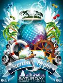 Summer Beach Party Flyer Design with disco ball